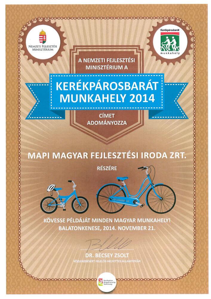 Kerékpárosbarát Munkahely 2014