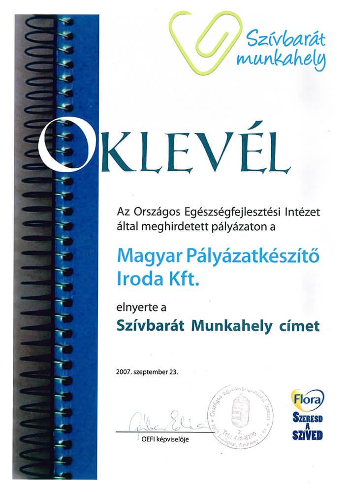 Szívbarát Munkahely 2007